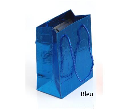 Petit sac cadeau brillant Bleu - 14,5 x 12 cm