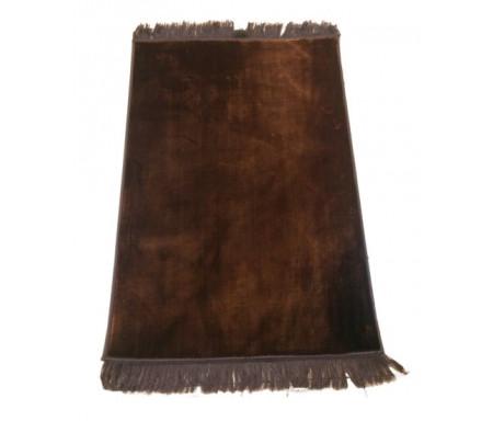 Grand tapis de luxe épais couleur uni marron sans motifs