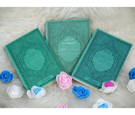 Coffret / Pack Cadeau Mixte Vert-Bleu avec 3 livres bilingues : Les 40 hadiths an-Nawawî, Chapitre Amma et La citadelle du Musulman
