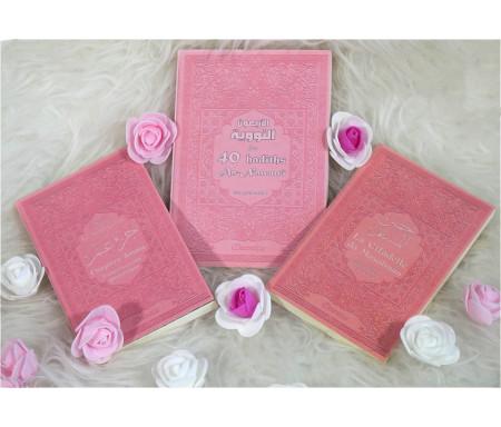Coffret / Pack Cadeau Mixte rose clair avec 3 livres bilingues : Les 40 hadiths an-Nawawî, Chapitre Amma et La citadelle du Musulman