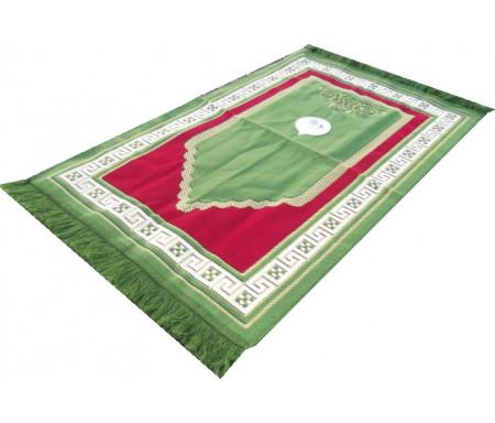 Tapis de prière Adulte avec Boussole intégrée + Mode d'emploi - Couleur Vert émeraude