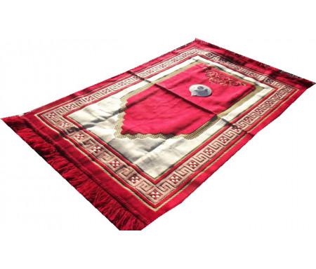 Tapis de prière Adulte avec Boussole intégrée + Mode d'emploi - Couleur Rouge carmin