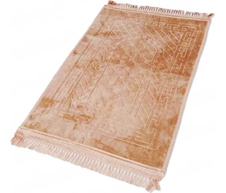 Tapis de Prière épais antidérapant et ultra-doux - Grande taille (80 x 120 cm) unis avec incrustations Arcade finition Luxe - Sable