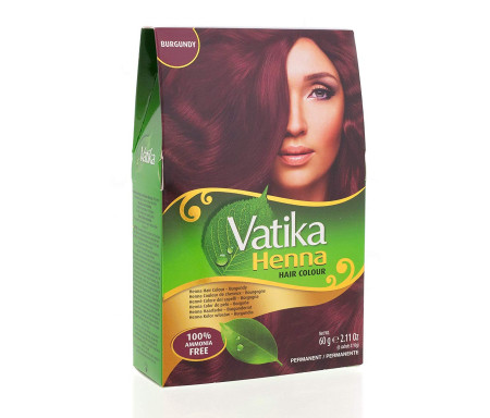 """Henné Burgundy (Bordeaux) pour Coloration des Cheveux """"Burdundy"""" sans Ammoniaque (6 sachets x 10gr) - Vatika"""