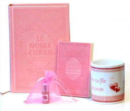 """Coffret Cadeau islamique Rose pour Femme : Coran Rainbow (français / arabe) + La Citadelle + Musc pour femmes + Mug """"Pour ma femme"""""""