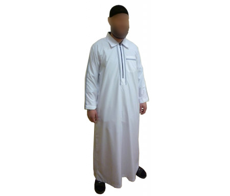 Qamis fashion blanc avec fermeture zip au col - Taille 2XL