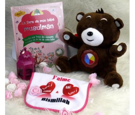 Cadeau de naissance pour mon bébé (spécial filles) : Nounours Salah parlant - Le livre de mon bébé musulman - Bavoir