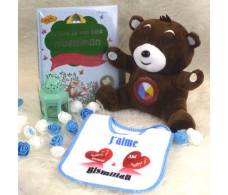 Cadeau de naissance pour mon bébé (spécial garçons) : Nounours Salah parlant - Le livre de mon bébé musulman - Bavoir