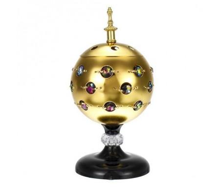 Brûleur d'encens / encensoir électrique en forme de Boule avec Perles en métal doré