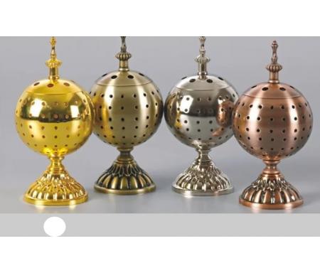 Brûleur d'encens / encensoir en forme de Boule en métal doré