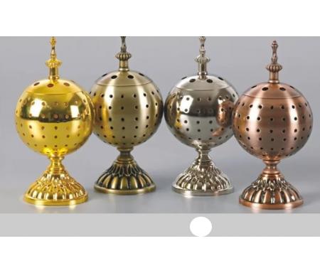 Brûleur d'encens / encensoir en forme de Boule en métal argenté