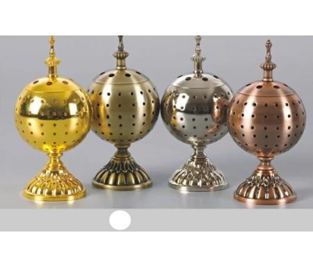 Brûleur d'encens / encensoir en forme de Boule en métal bronze