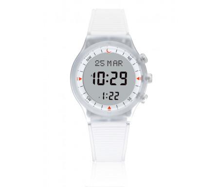 Montre électronique Al-Sahar avec boussole et calcul automatique des heures de prières - Sport - Blanche (Modèle : AS-S016WW)
