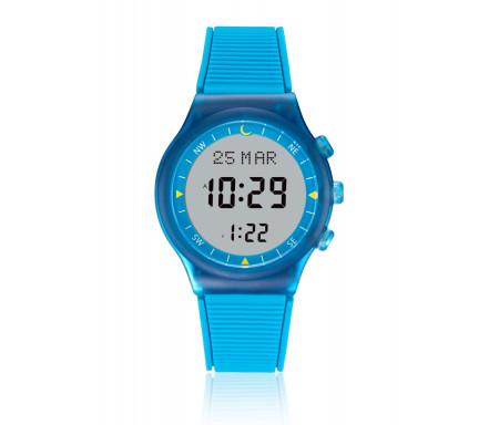 Montre électronique Al-Sahar avec boussole et calcul automatique des heures de prières - Sport - Bleu (Modèle : AS-S016LW)