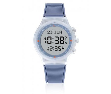 Montre électronique Al-Sahar avec boussole et calcul automatique des heures de prières - Sport - Grise et Blanche (Modèle : AS- S016GW)