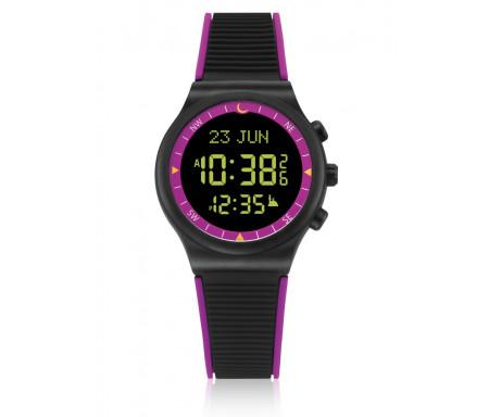 Montre électronique Al-Sahar avec boussole et calcul automatique des heures de prières / Sport - Noir et Violet (Modèle : AS-S016PB)