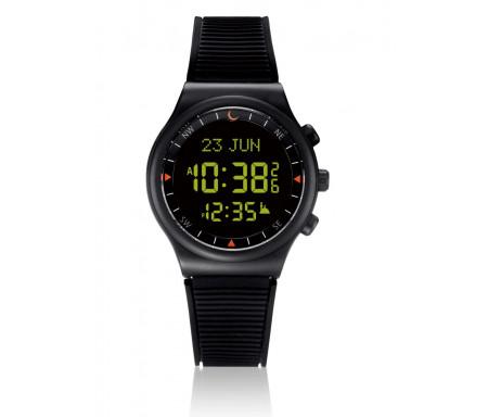 Montre électronique Al-Sahar avec boussole et calcul automatique des heures de prières / Sport - Noire (Modèle : AS-S016BB)