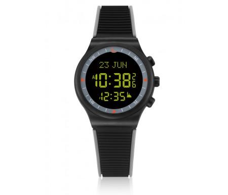 ontre électronique Al-Sahar avec boussole et calcul automatique des heures de prières / Sport - Noire avec bracelet bordé de gris (Modèle : AS-S016GB)