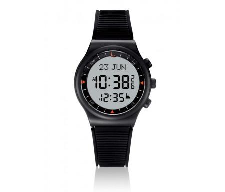 Montre électronique Al-Sahar avec boussole et calcul automatique des heures de prières / Sport - Noire avec cadran clair (Modèle : AS-S016BW)