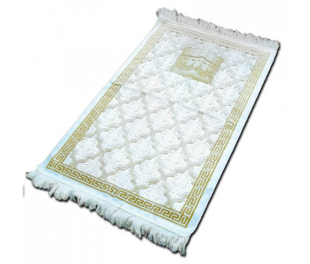 "Tapis velours opalescent couleur Or - Motif central ""Kaaba"""