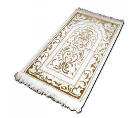 "Tapis velours opalescent couleur Or - Motif central ""arabesques"""