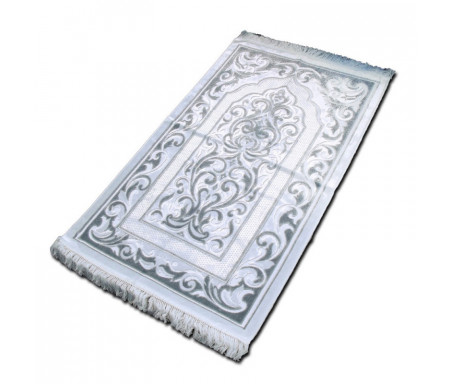 "Tapis velours opalescent couleur Argent - Motif central ""Arabesque"""