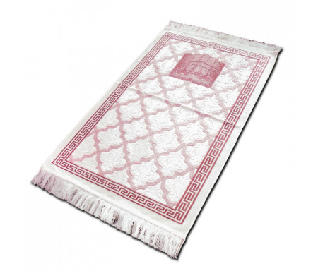 "Tapis velours opalescent couleur bordeaux - Motif central ""Kaaba"""