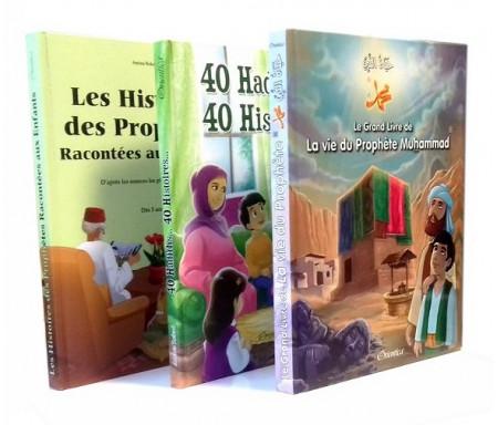 Pack 3 livres de référence : Les Histoires des Prophètes Racontés aux Enfants + Le Grand Livre de la Vie du Prophète + 40 Hadiths... 40 Histoires... (Cartonnés de luxe)