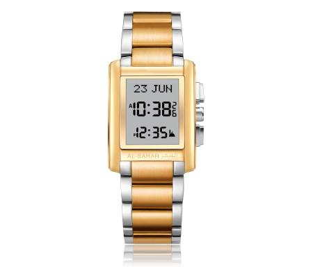 Montre métallique Deluxe dorée / argenté Al-Sahar avec indication automatique de la qibla et des heures de prières (modèle AS-T006TTGW)