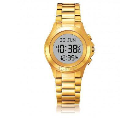 Montre métallique Gold Al-Sahar avec indication automatique de la Qibla et des heures de prières (AS-T002GW)