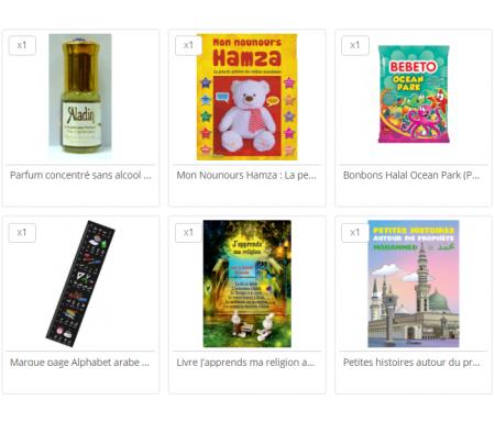 Pack Cadeau Enfant Musulman (3-6 ans) : Nounours + 2 Livres + Parfum Musc + Sachet de bonbon halal et sucette + Mug Alphabet arabe