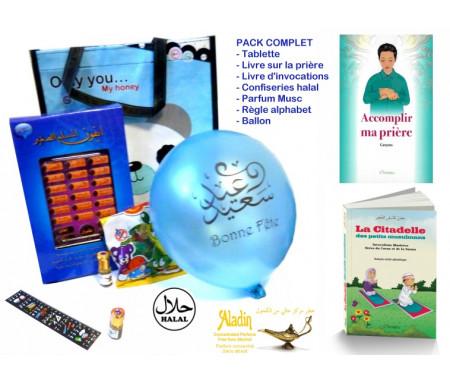 Pack Cadeau Petit Musulman : Tablette - Livres de prière et d'invocations - Bonbons Halal - Parfum Musc - Ballon Règle alphabet (Spécial garçons)