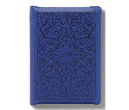 Le Noble Coran et la Traduction du Sens de Ses Versets sous Pochette Zippée - Bleu Ed. Luxe