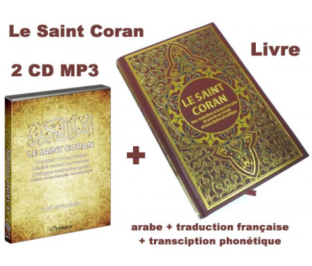 Pack Livre + Double CD MP3 (arabe / français) : Le Saint Coran avec traduction en langue française du sens de ses versets et transcription phonétique