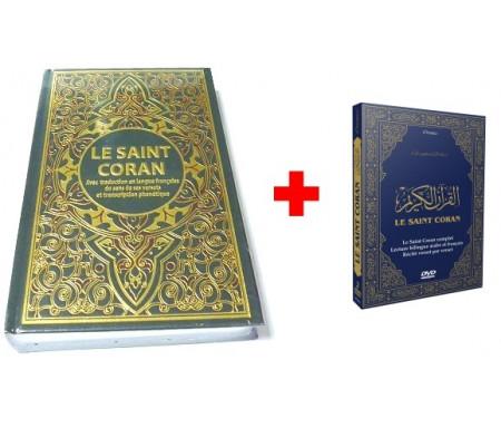 Pack Livre + DVD (Bilingue arabe/français) : Le Saint Coran avec traduction en langue française du sens de ses versets et transcription phonétique
