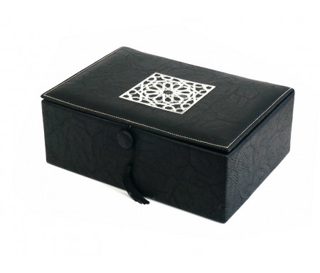 Boite / Coffret artisanal de luxe en cuir avec motifs rosace argenté - Couleur noire