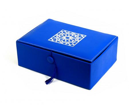 Coffret artisanal de luxe bleu en cuir avec motifs rosace argenté