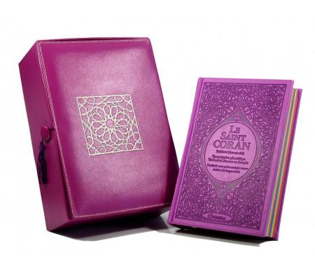 Coffret Cadeau Cuir Mauve : Le Saint Coran Rainbow (français / arabe / phonétique) et Coffret artisanal de luxe