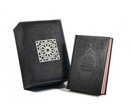 Coffret Cadeau Cuir Noir : Le Saint Coran Rainbow (français / arabe / phonétique) et Coffret artisanal de luxe
