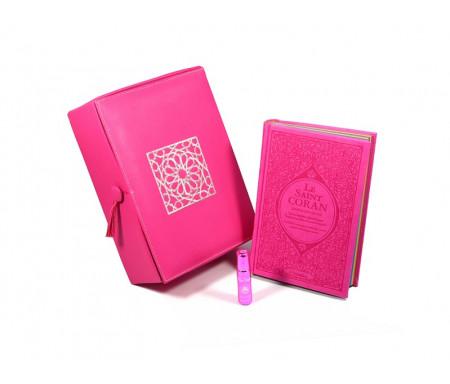 Coffret Cadeau Rose : Le Saint Coran Rainbow (français / arabe / phonétique), Coffret artisanal de luxe et parfum pour femme