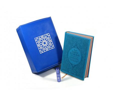 Coffret / Pack Cadeau en cuir bleu : Le Saint Coran Rainbow (français / arabe / phonétique), Coffret artisanal de luxe et parfum