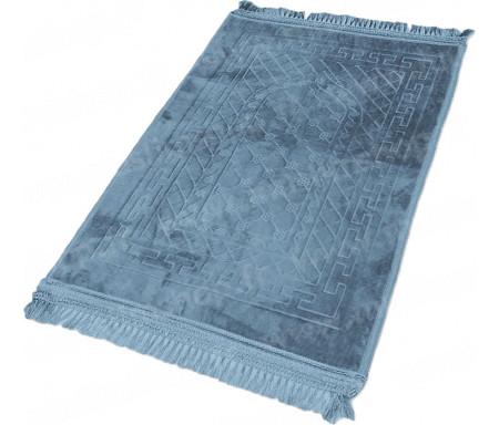 Tapis de Prière épais antidérapant et ultra-doux - Grande taille (80 x 120 cm) unis avec incrustations Arcade finition Luxe - Bleu ardoise