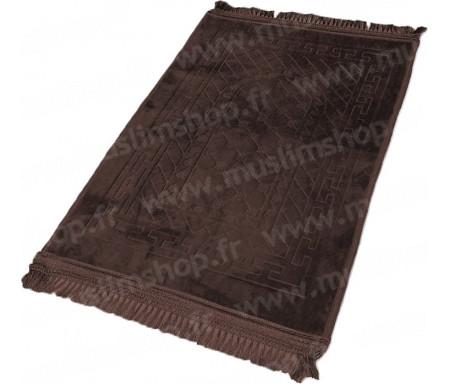 Tapis de Prière épais antidérapant et ultra-doux - Grande taille (80 x 120 cm) unis avec incrustations Arcade finition Luxe - Chocolat