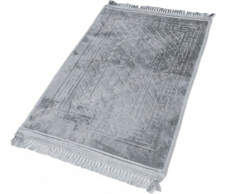 Tapis de Prière épais antidérapant et ultra-doux - Grande taille (80 x 120 cm) unis avec incrustations Arcade finition Luxe - Gris