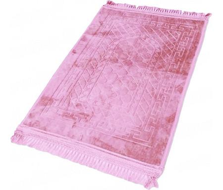 Tapis de Prière épais antidérapant et ultra-doux - Grande taille (80 x 120 cm) unis avec incrustations Arcade finition Luxe - Rose