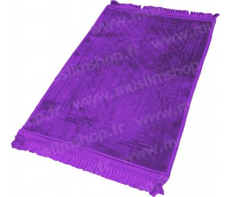 Tapis de Prière épais antidérapant et ultra-doux - Grande taille (80 x 120 cm) unis avec incrustations Arcade finition Luxe - Violet