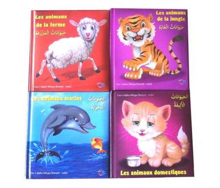"""Pack de 4 livres """"Les animaux"""" avec posters à déplier (Bilingue : français - arabe)"""
