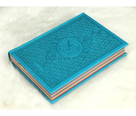 Le Coran Arc-en-ciel version arabe (Lecture Hafs) - Couverture couleur bleu clair de luxe - Rainbow القرآن الكريم