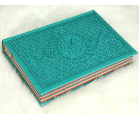 Le Coran Arc-en-ciel version arabe (Lecture Hafs) - Couverture couleur Vert-bleu de luxe - Arabic Rainbow Quran - القرآن الكريم