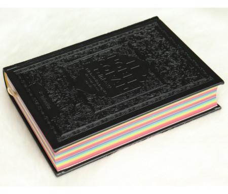 Le Noble Coran avec pages en couleur Arc-en-ciel (Rainbow) - Bilingue (français/arabe) - Couverture Daim de couleur noire